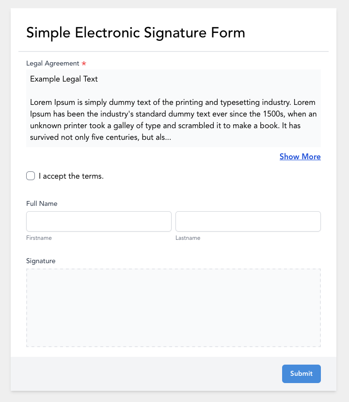 Simple Electronic Signature Form
